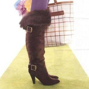 New w/ Box Coach Suede Fur Trim Brown Boots Size 7